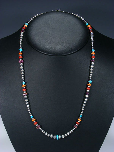 "24"" Native American Turquoise, Spiny Oyster and Silver Bead Necklace"