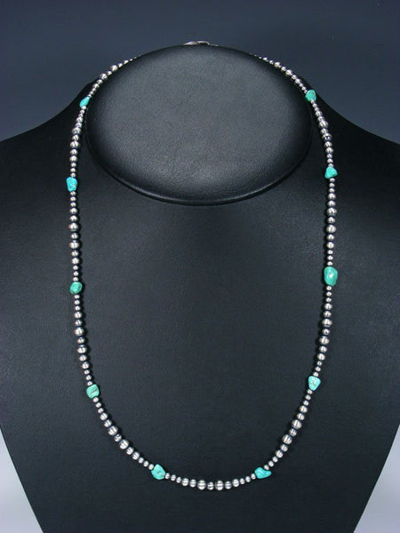 "24"" Native American Turquoise and Sterling Silver Bead Necklace"