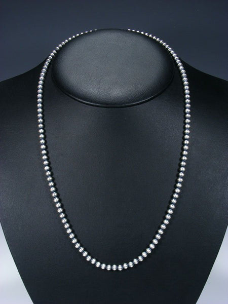 "24"" Sterling Silver Oxidized Bead Necklace"