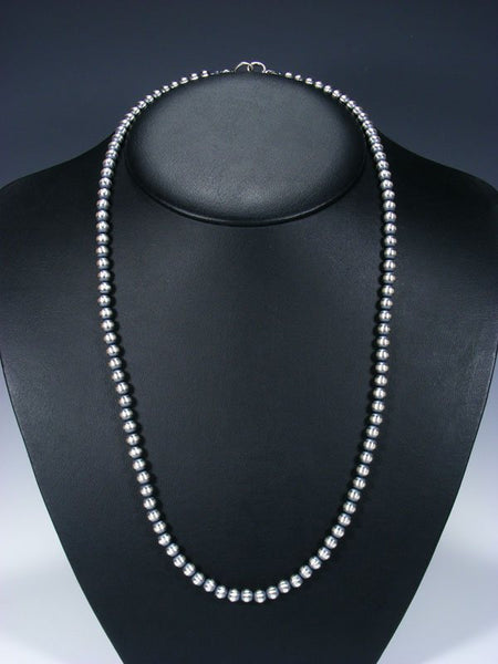 "26"" Sterling Silver Oxidized Bead Necklace"