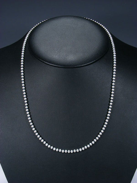 "22"" Sterling Silver Oxidized Bead Necklace"