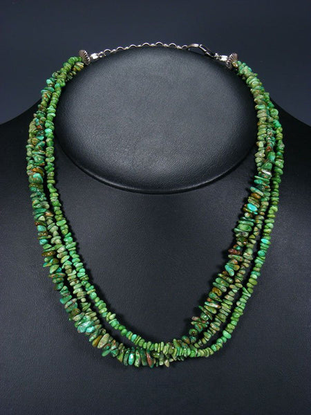 Native American Jewelry Three Strand Royston Turquoise Necklace