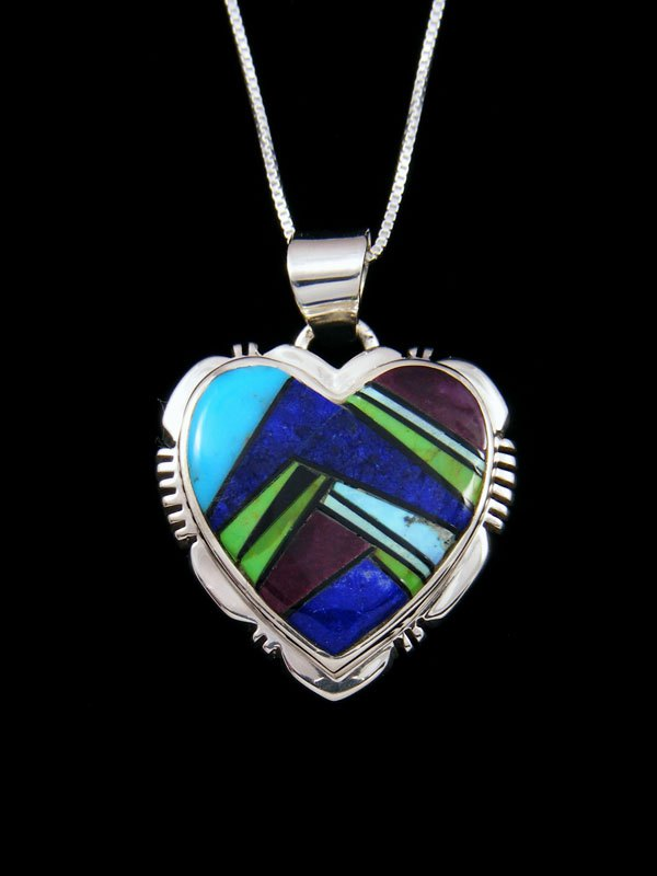 Navajo Spiny Oyster and Turquoise Heart Inlay Pendant