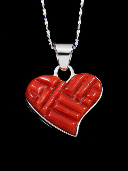 Navajo Natural Coral Cobblestone Inlay Heart Pendant