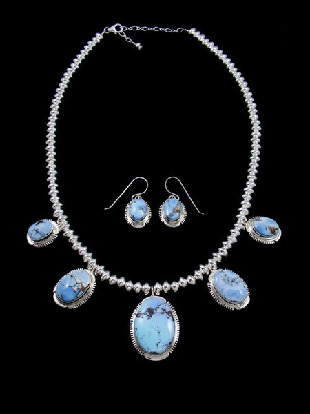Natural Golden Hill Turquoise Sterling Silver Tear Drop Necklace Set