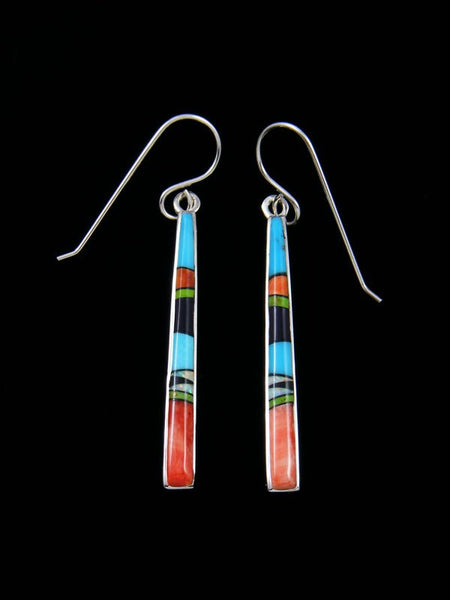 Navajo Spiny Oyster, Turquoise, Lapis and Gaspeite Inlay Dangle Earrings
