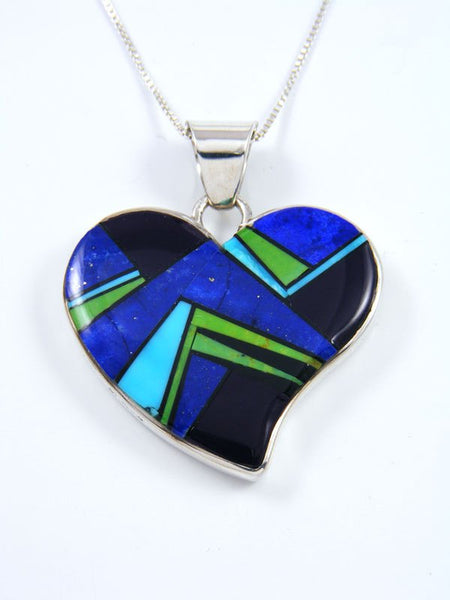 Navajo Spiny Oyster and Lapis Reversible Inlay Heart Pendant