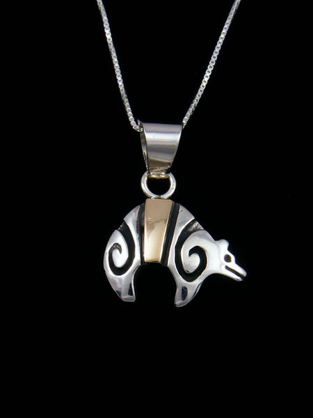 Native American Indian Sterling Silver and Gold Bear Pendant