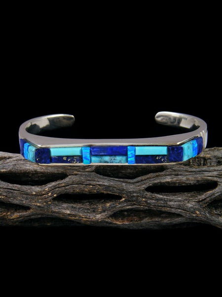 Native American Indian Blue Lapis and Turquoise Inlay Bracelet