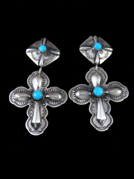 Sterling Silver Navajo Turquoise Cross Post Earrings