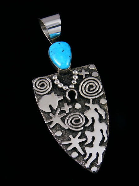 Large Navajo Sterling Silver and Turquoise Petroglyph Pendant