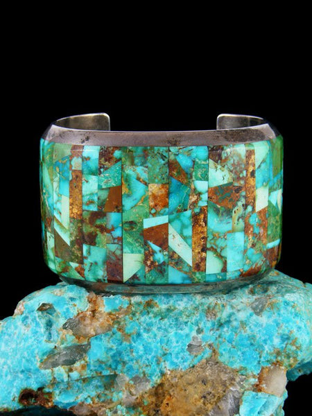 Estate Native American Jewelry Sterling Silver Inlay Turquoise Bracelet