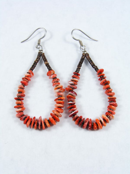 Navajo Spiny Oyster and Heishi Bead Dangle Earrings