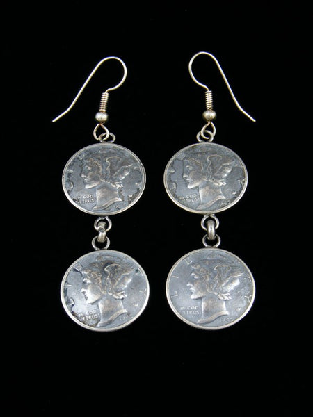 Navajo Mercury/Winged Liberty Head Dime Sterling Silver Dangle Earrings