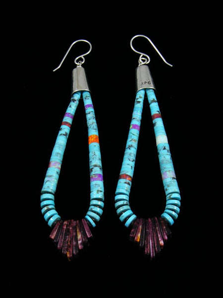 Santo Domingo Spiny Oyster and Turquoise Dangle Earrings