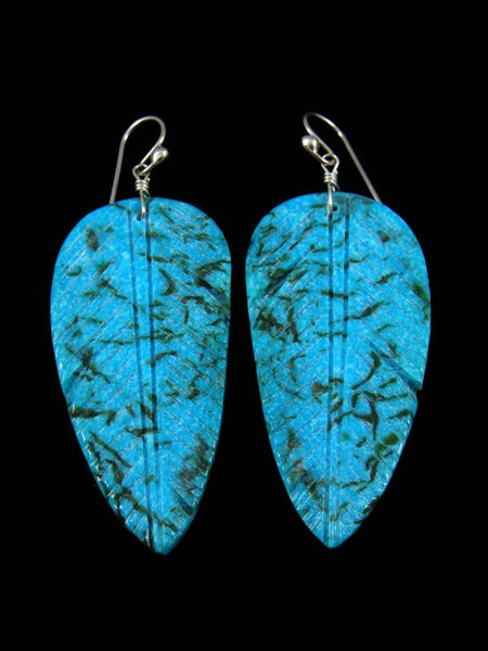 Santo Domingo Turquoise Dangle Etched Feather Earrings