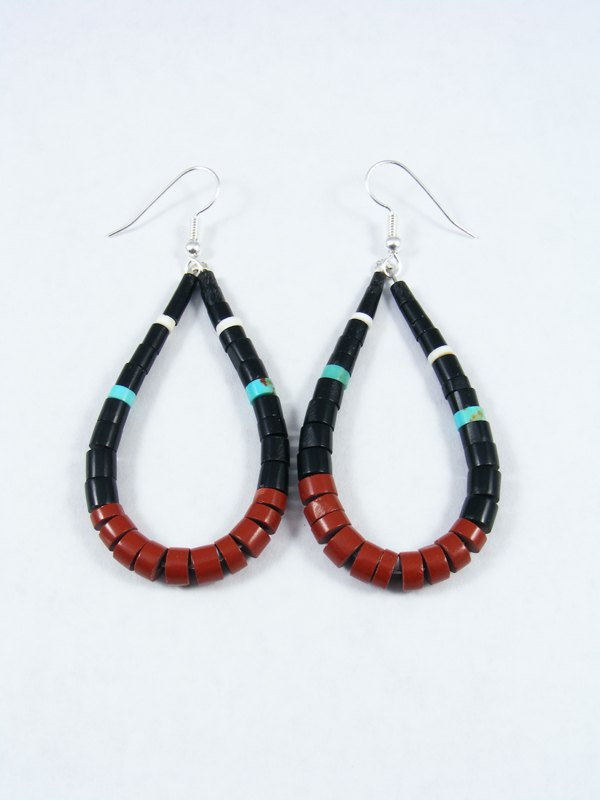 Jet and Pipestone Dangle Earrings