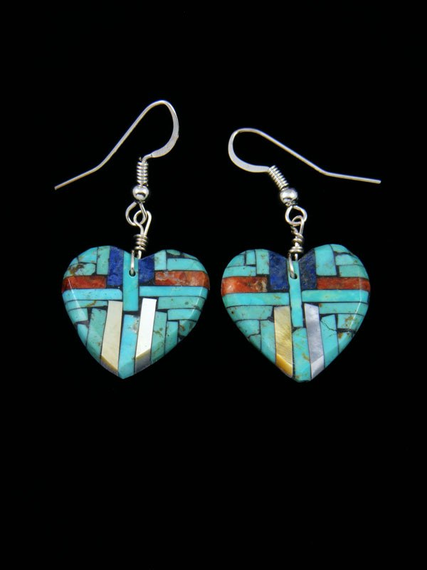 Santo Domingo Turquoise Inlay Heart Dangle Earrings