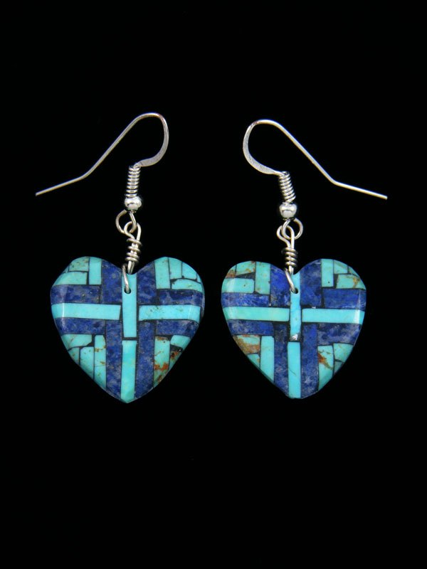 Santo Domingo Lapis and Turquoise Inlay Heart Mosaic Earrings