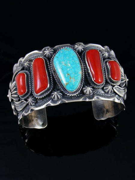 Native American Indian Jewelry Kingman Turquoise and Coral Bracelet