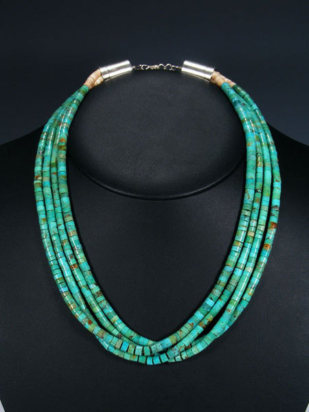 Native American Four Strand Shell Heishi and Turquoise Necklace