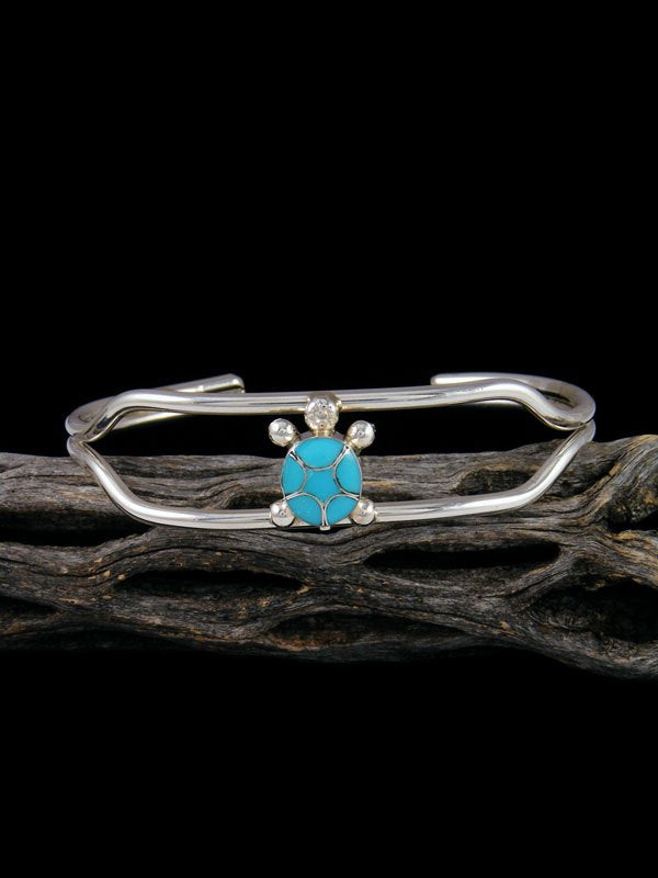 Sterling Silver Zuni Turquoise Inlay Turtle Cuff Bracelet