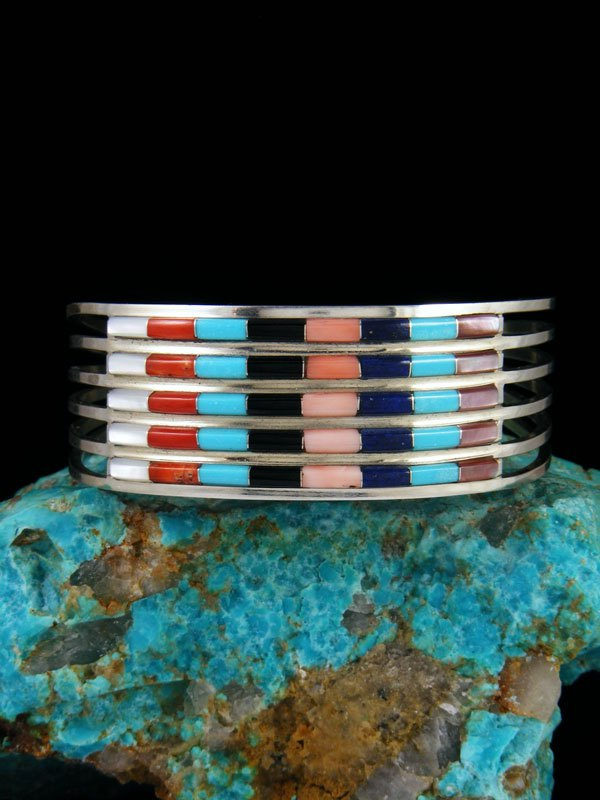 Native American Zuni Turquoise and Coral Inlay Bracelet