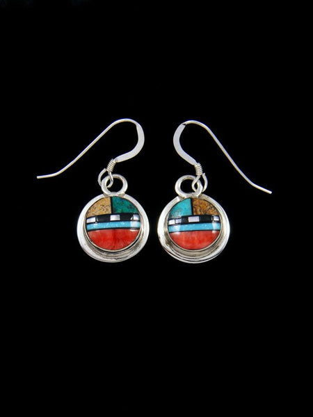 Spiny Oyster and Turquoise Zuni Inlay Dangle Earrings