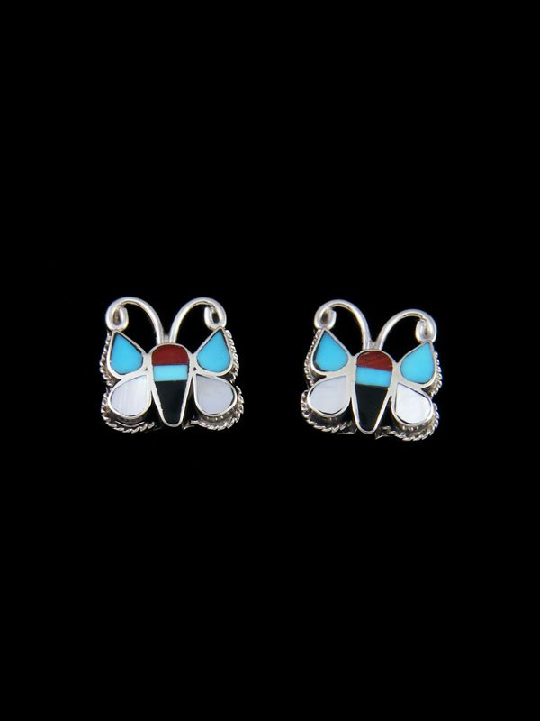 Turquoise and Coral Zuni Butterfly Post Earrings