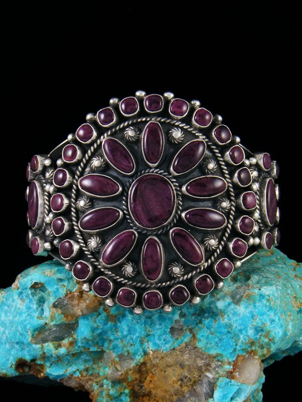 Native American Sterling Silver Purple Spiny Oyster Cuff Bracelet