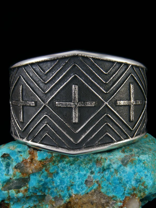 Native American Sterling Silver Sandcast Cross Bracelet