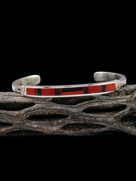 Native American Indian Onyx and Coral Inlay Bracelet