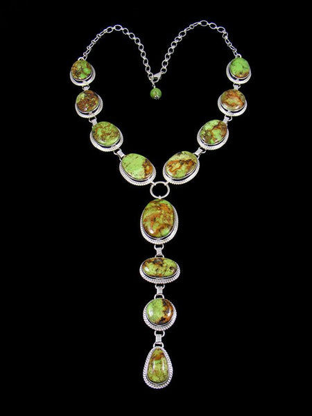 Native American Jewelry Natural Gaspeite Lariat Necklace and Earring Set