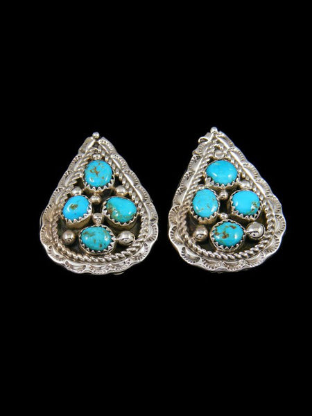 Kingman Turquoise Navajo Post Earrings