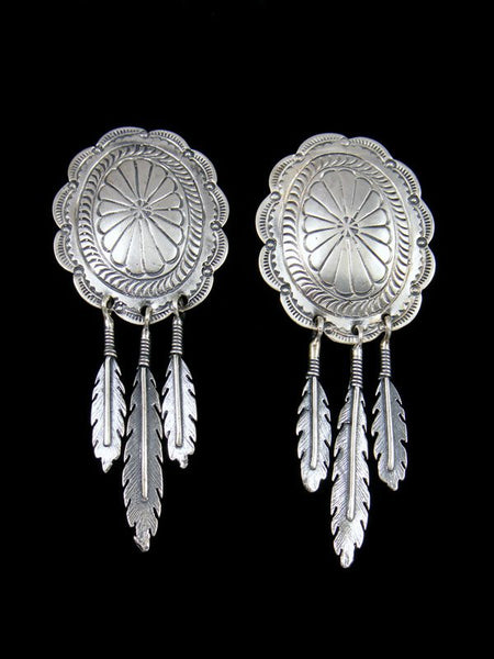 Navajo Sterling Silver Basket Feather Post Earrings