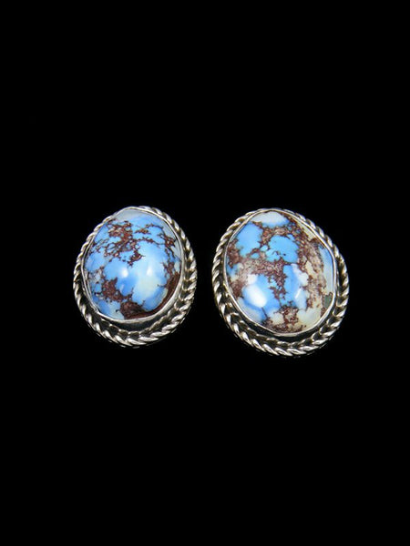 Navajo Sterling Silver Golden Hill Turquoise Post Earrings