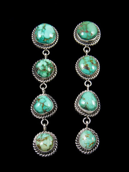 Navajo Sterling Silver Carico Lake Turquoise Post Earrings
