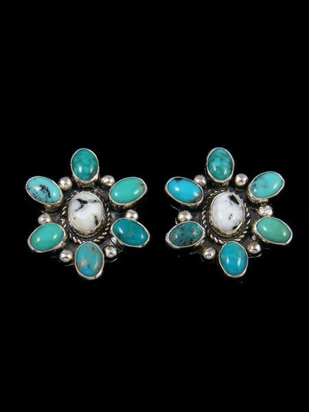 Navajo Turquoise and White Buffalo Post Earrings