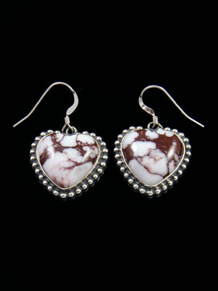 Navajo Wild Horse Sterling Silver Heart Earrings