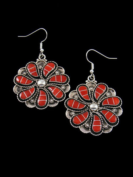 Native American Zuni Jewelry Coral Dangle Earrings