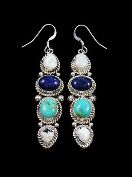 Navajo Turquoise and White Buffalo Dangle Earrings