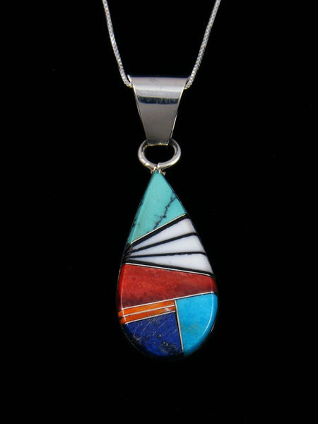 Sterling Silver Multi Stone Navajo Inlay Pendant