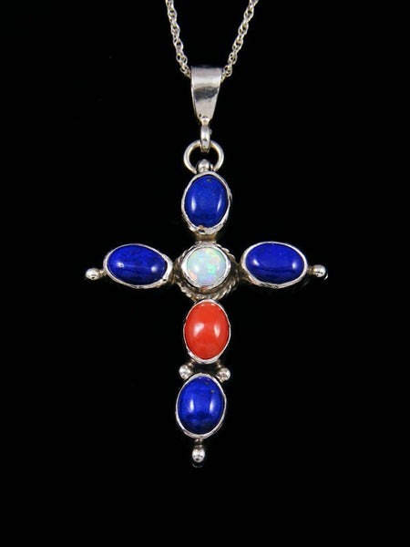 Native American Indian Jewelry Lapis Cross Pendant