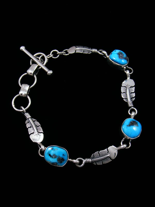 Native American Sleeping Beauty Turquoise Link Feather Bracelet