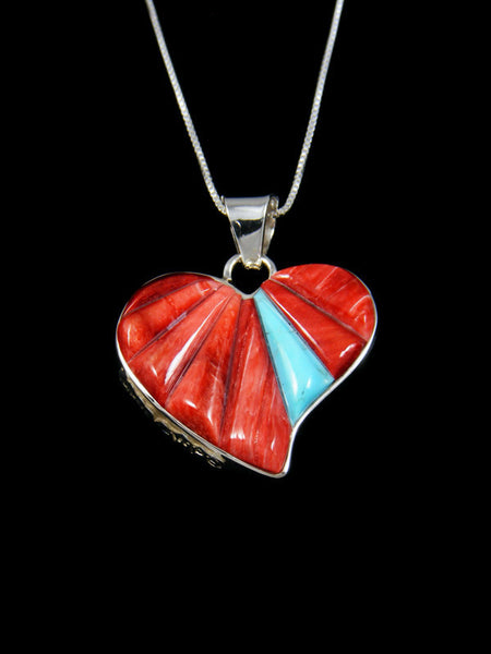 Red Spiny Oyster Reversible Heart Inlay Pendant