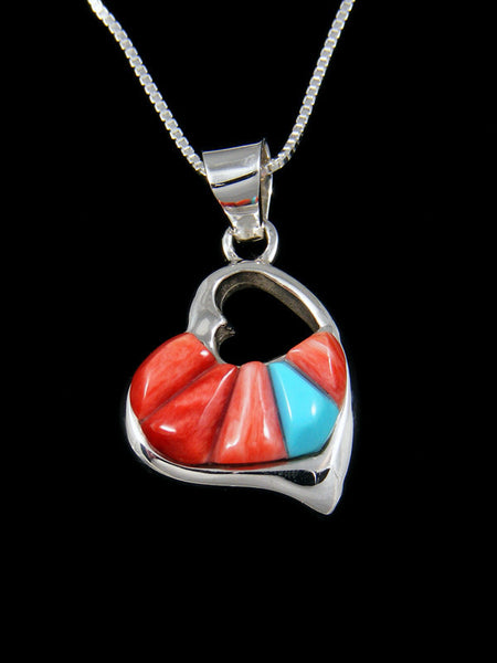 Red Spiny Oyster Double Heart Inlay Pendant