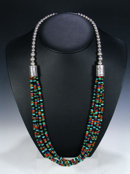Native American Indian Jewelry 5 Strand Multi-Stone Necklace