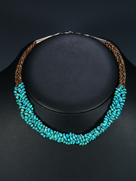 Native American Indian Jewelry Braided Turquoise Necklace