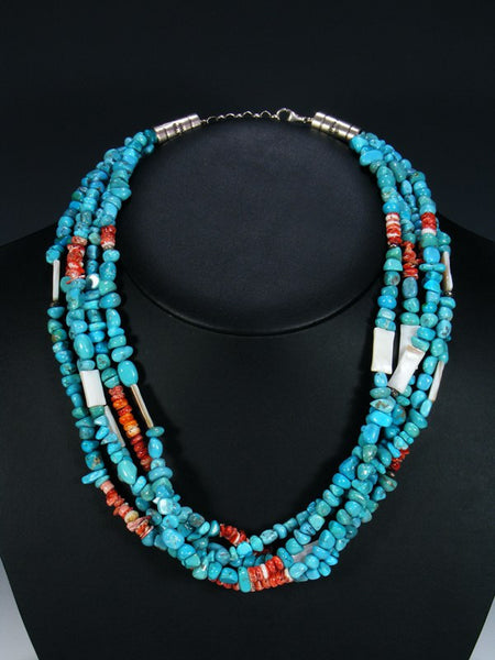 Native American Indian Jewelry 5 Strand Spiny Oyster and Turquoise Necklace