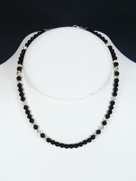 Native American Single Strand Onyx Necklace
